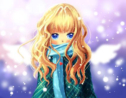 Обои Тайга Айсака / Taiga Aisaka из аниме Торадора! / Toradora! с белыми крыльями в голубом шарфе и пальто стоит под падающим снегом