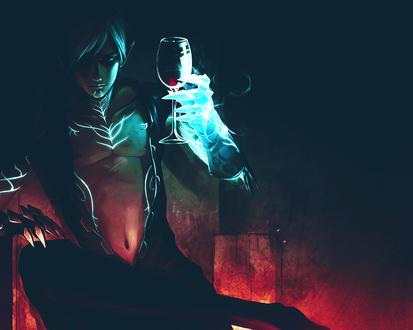 Обои Fenris / Фенрис из игры Dragon Age II / Эра Дракона 2 сидит на троне с бокалом красного вина в руке, охваченной ледяным пламенем