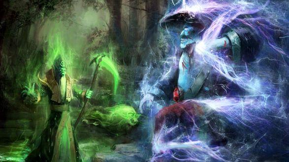 Обои Маг с посохом и великан стоят друг напротив друга в лесу
