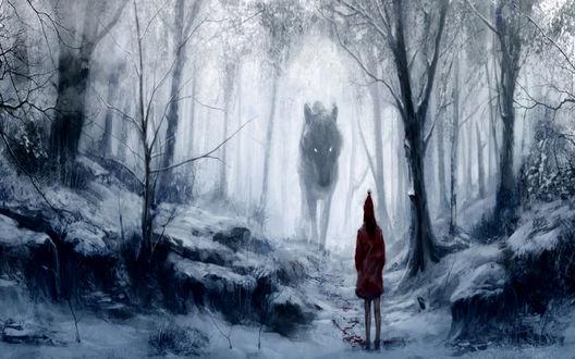 Обои Девушка встретила волка в зимнем лесу, арт к сказке Красная шапочка