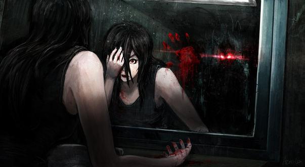 Обои Девушка стоит у окровавленного зеркала и прикрывает рукой глаз, сзади стоит монстр