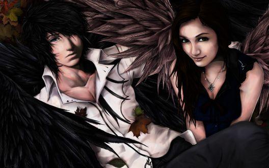 Обои Парень с черными крыльями лежит на опавшей листве, рядом сидит крылатая девушка