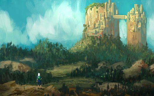 Обои Финн / Finn стоит на фоне замка и неба, американский анимационный сериал Время приключений с Финном и Джейком / Adventure Time with Finn and Jake