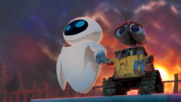 Обои Валли / Wall-e и Ева / Eva любуются на закат, мультфильм Wall-e / Валл-и