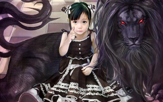 Обои Анимешная девочка рядом с черным львом