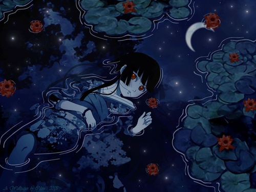 девушка лежит аниме: