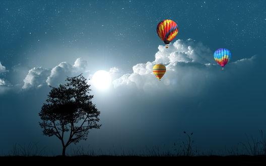 Обои Разноцветные воздушные шары, парящие над полем, деревьями на фоне звездного неба, ярко светящего солнца и белых кучевых облаков