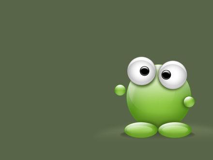Обои Зеленый большеглазый смайлик