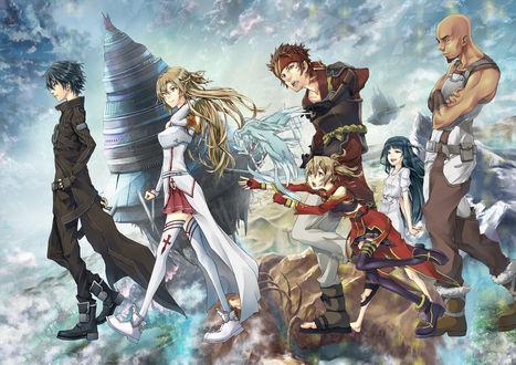 Обои Кирито / Kirito, Асуна / Asūna, Силика / Silica, Кляйн / Klein, Юи / Yui, Эгиль / Agil Айнкрада из аниме Sword Art Online / Мастера Меча Онлайн