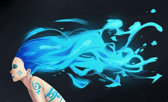 Обои Девушка с длинными голубыми волосами