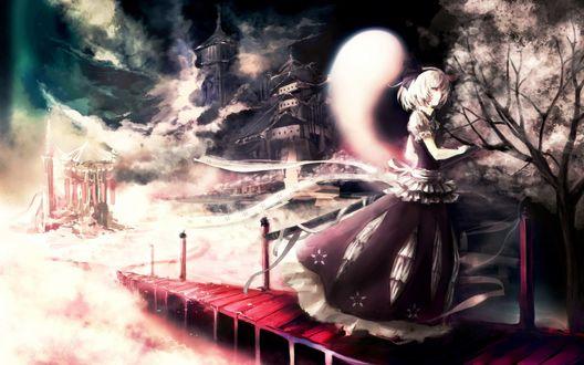 Обои Rumia идет по мосту, доставая меч, сзади нее парит дух, вдалеке виднеется какое-то строение, сбоку растет сакура, из игры Touhou / Проект Восток