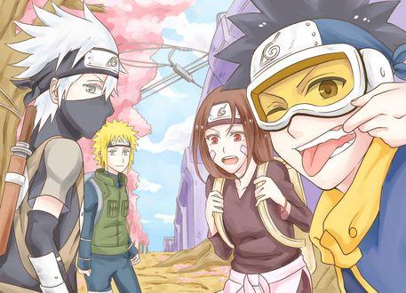 Обои Какаши Хатаке / Kakashi Hatake Минато Намикадзе / Minato Namikaze Рин Нохара / Rin Nohara и Учиха Обито / Uchiha Obito из аниме Наруто / Naruto