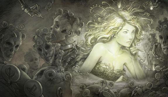 Обои Девушка среди зомби с ярлыками в головах и цепях