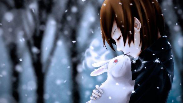 Обои Милая девушка азиатской внешности, стоящая под падающим снегом, нежно прижимает к груди белого кролика с красными глазами, пытаясь согреть его своим дыханием