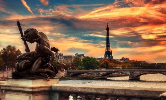 Обои Вид на город Париж, Эйфелеву башню / Paris, Eiffel tower