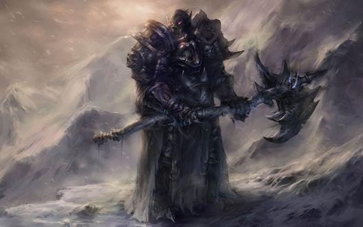 Обои Орк мертвый рыцарь с топором на вершине заснеженной горы / арт к игре World Of Warcraft