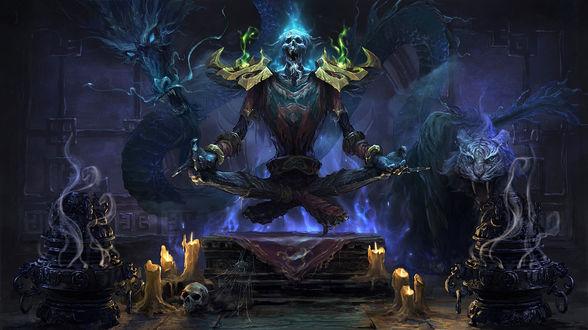 Обои Чернокнижник из фракции Отрекшиеся призывает разных духов / арт к игре World Of Warcraft