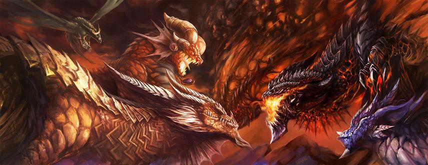 Обои Смертокрыл сражается с другими драконами-аспектами / арт к игре World Of Warcraft
