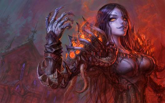 Обои Чернокнижница из фракции Отрекшиеся / арт к игре World Of Warcraft