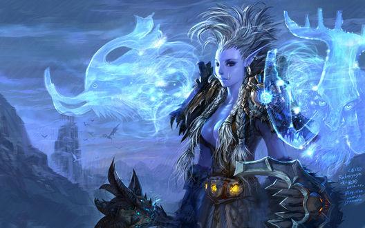 Обои Тролль шаманка на фоне Драконьего Погоста / арт к игре World Of Warcraft / художник Yaorenwo