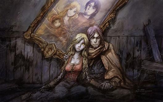 Обои Отрекшиеся, над которыми висит портрет их прошлой счастливой жизни, когда они были людьми / арт к игре World Of Warcraft / художник Yaorenwo