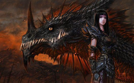 Обои Ониксия в человеческом облике и в облике дракона / арт к игре World Of Warcraft / художник Yaorenwo