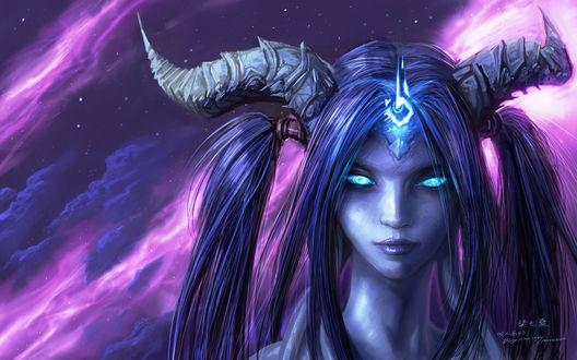 Обои Лицо дренейки на фоне фиолетовых облаков / арт к игре World Of Warcraft / художник Yaorenwo