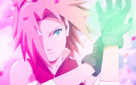 Обои Сакура Харуно / Haruno Sakura смотрит куда то вперед и надевает перчатку на фоне лепестков из аниме Наруто / Naruto