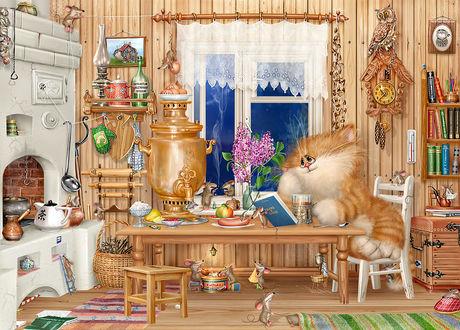 Обои Кот сидит за столом, на котором стоит самовар и разная еда, и пьет чай, читая книгу, которую держит мышь, на настенных часах сидит сова, под столом расположен маленький стол, за которым сидят мыши и пьют чай