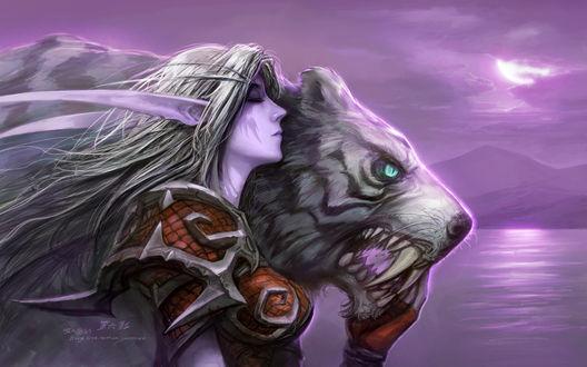 Обои Ночная эльфийка рядом с Дарнасским саблезубом / арт к игре World Of Warcraft / художник Yaorenwo