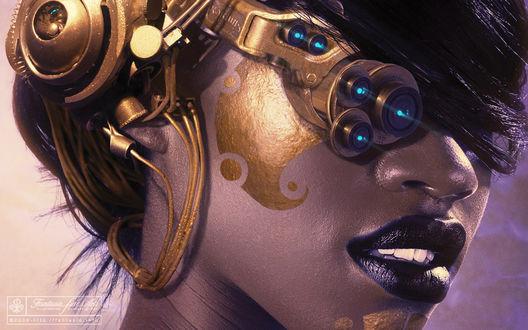 Обои Девушка-робот с золотой полосой на щеке, автор Oliver Wetter