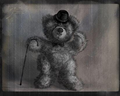 Обои Плюшевый мишка с тростью в лапе, шляпе на голове, с галстуком-бабочкой стоит на сером фоне