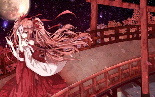 Обои Девушка в красном платье с лентами в волосах, придерживая одной рукой маску, находящуюся у нее на лице, идет по мосту на фоне ночного неба, на котором светит полная луна