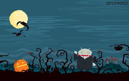 Обои Векторные Дракула и тыква в атмосфере Хэллоуина, стилизованные под символы операционной системы Android / Андроид