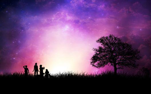 Обои Силуэты детей с двумя собаками стоят в траве рядом с деревом