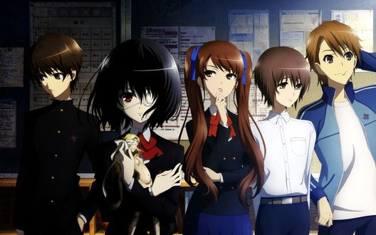 Обои Персонажи из аниме Иная / Another стоят спиной к доске объявлений