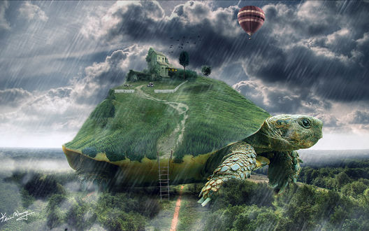 Обои Коллаж, состоящий из черепахи, стоящей на пригорке среди зеленых деревьев, лестницы, приставленной к панцирю черепахи, с расположенными на нем каменным домом, деревьями и пасущимся скотом на фоне пасмурного грозового неба, идущего проливного дождя и парящего в небе воздушного шара