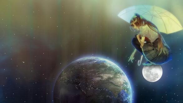 Обои Рыжеволосая девушка с длинными волосами, держащая в руке солнцезащитный зонтик, сидящая на корточках на Луне, показывает пальцем на расположенную ниже планету Земля