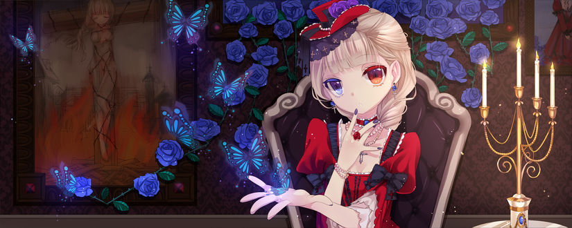 Обои Светловолосая анимешная девушка в стиле Gothic Lolita / Готическая Лолита с разноцветными глазами сидит в комнате, где цветут синие розы и порхают магические сине-голубые бабочки, рядом стоит подсвечник с горящими свечами, на стене висит картина с ведьмой на костре