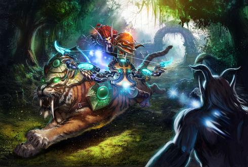 Обои Тролль охотник стреляет в сатира верхом на тигре / арт к игре World Of Warcraft
