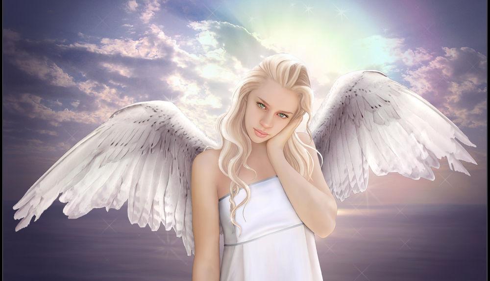 ангел на фоне моря фото