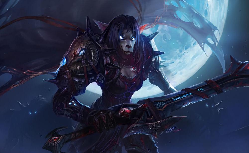 Обои для рабочего стола Ворген - рыцарь смерти на фоне полной луны / арт к игре World Of Warcraft автор Chenbo