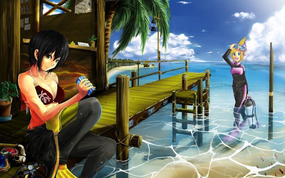 Обои для рабочего стола Белокурая девушка с маской и дыхательной трубкой на голове, держащая в руке баллон для подводного плавания, выходящая из океанской пучины, вторая черноволосая девушка, сидящая на мостике, пьет охлаждающий напиток из металлической банки, рядом на мостике стоит бунгало и тропическая пальма