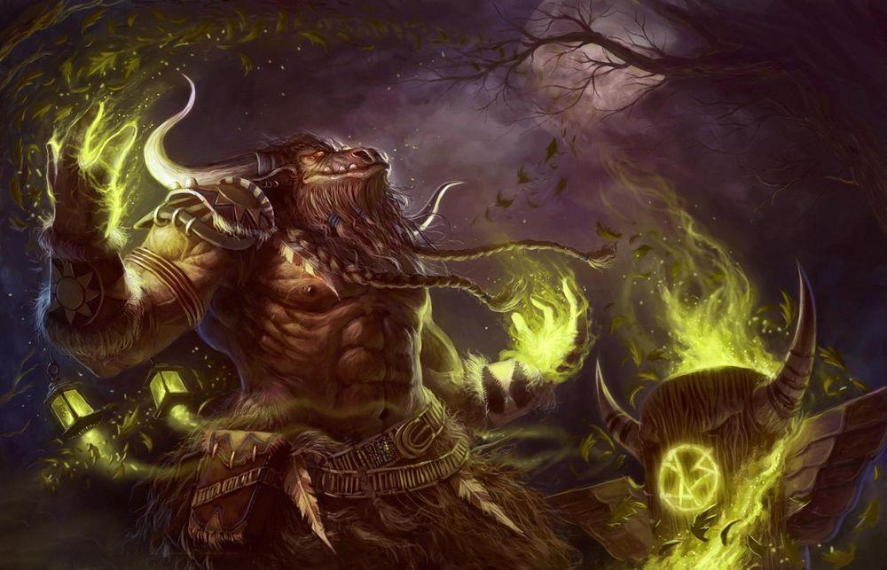 Обои для рабочего стола Таурен шаман рядом с тотемом на фоне полной луны в небе / арт к игре World Of Warcraft