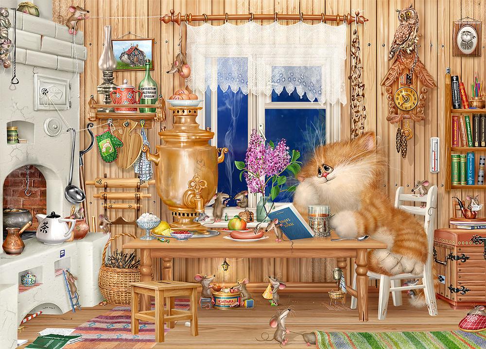 кот пьет чай за столом