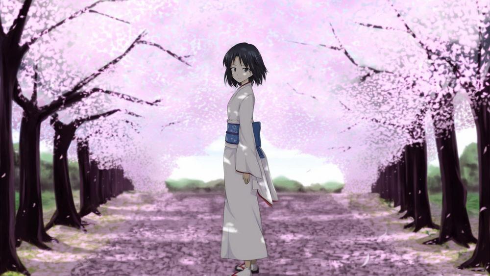 Картинки осеннего парка аниме