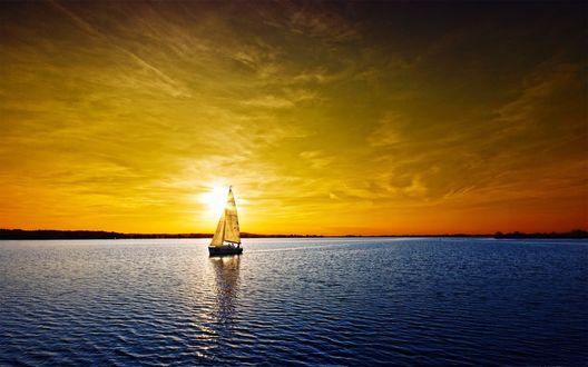 Обои Парусник на закате солнца плавает по водной глади
