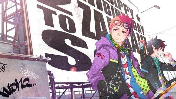 Обои Стильно одетые персонажи из аниме Синий экзорцист / Ao no exorcist радостно стоят на фоне большого плаката на крыше
