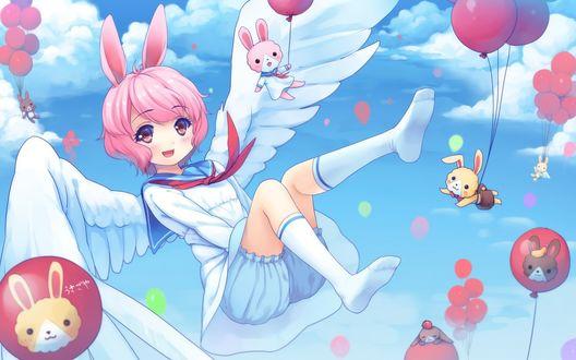 Обои Улыбающаяся девочка с кроличьими ушками и крыльями за спиной парит в небе, рядом летают кролики, держась за воздушные шарики