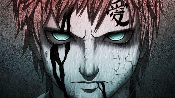 Обои Песчаный Гаара / Subaku no Gaara злобно смотрит вперед, из аниме Наруто / Naruto